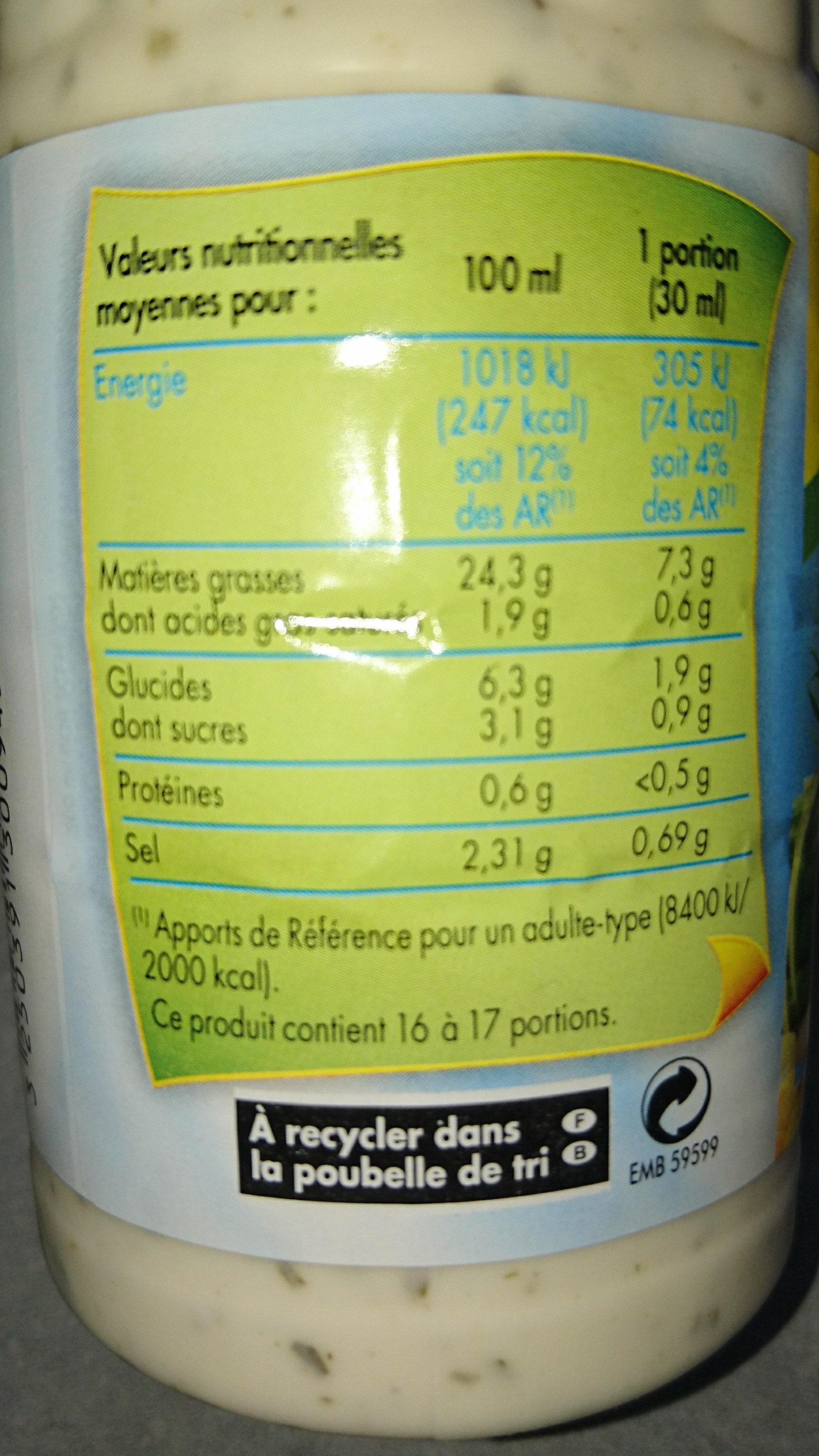 Sauce Crudités Fines Herbes - Informations nutritionnelles - fr