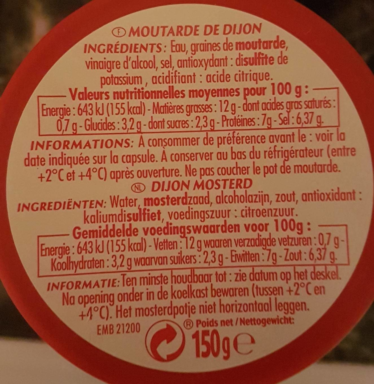 Moutarde de dijon, verre cannelé - Informations nutritionnelles - fr