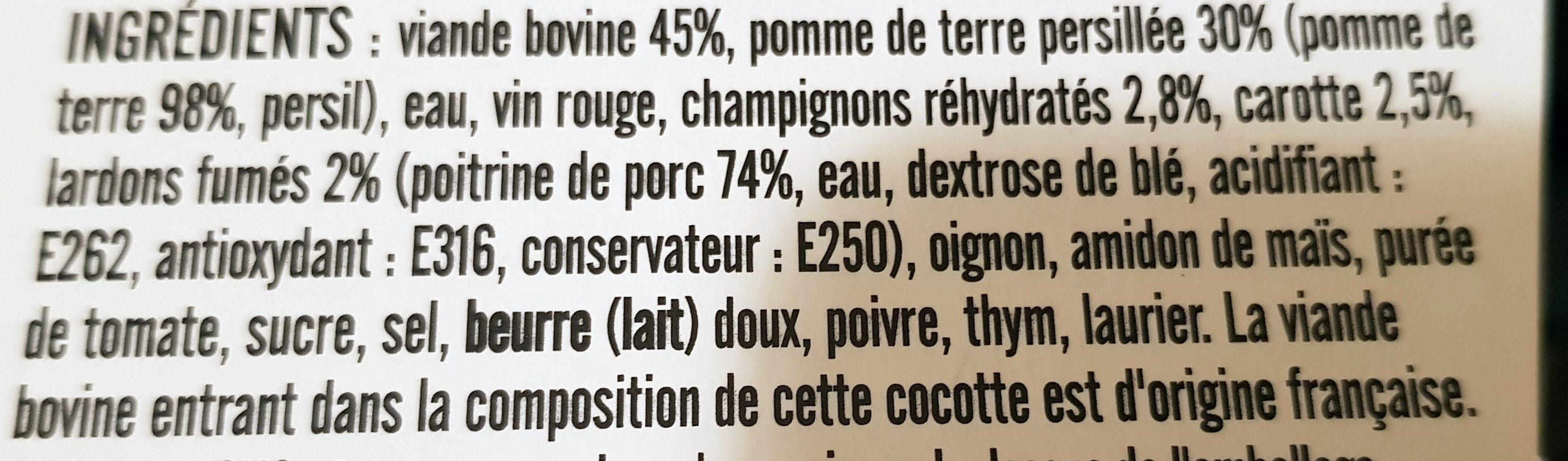 Bœuf Bourguignon et ses Pommes de Terre Persillées - Ingrédients