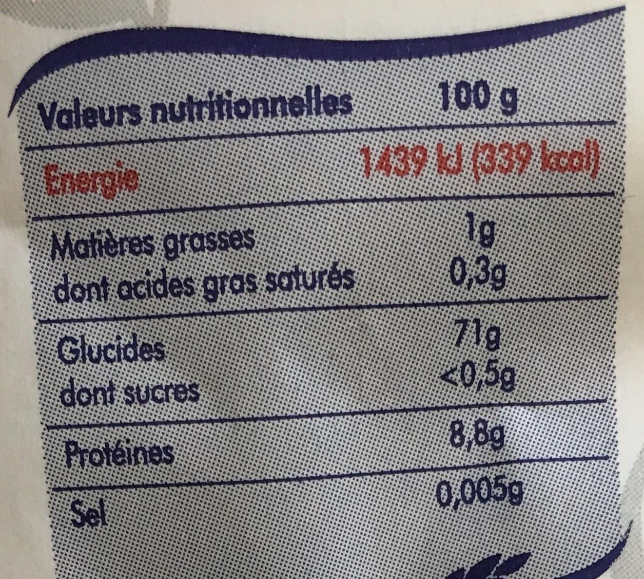 Farine fluide sans grumeau - Voedigswaarden