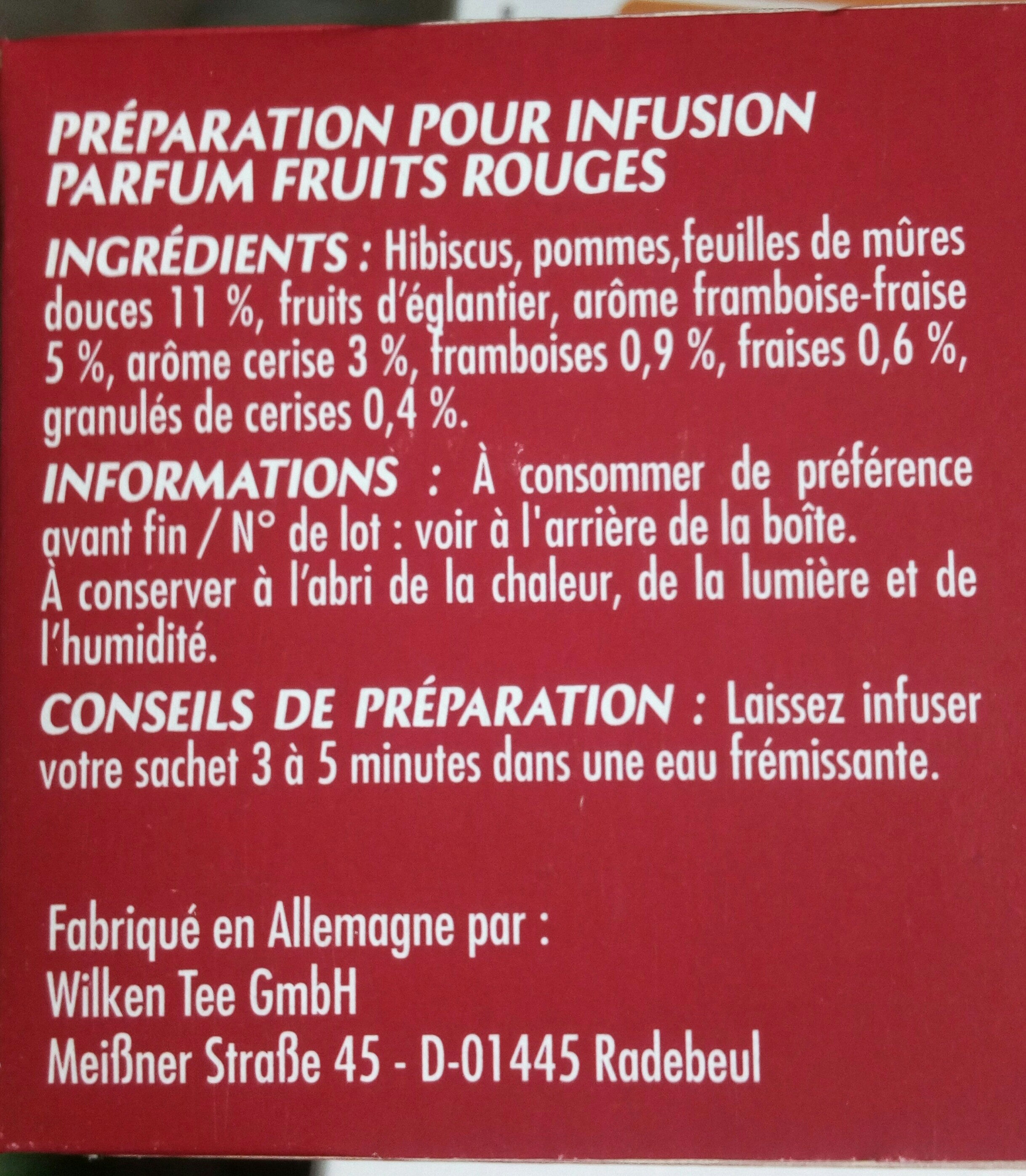 Infusion Fruits Rouges - Ingredients