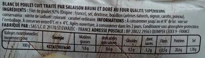 Mon tranche fin de poulet, barquette de 4 tranches - Voedingswaarden - fr