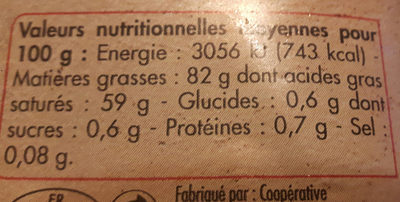 Beurre d'Isigny extra-fin doux - Nutrition facts - fr