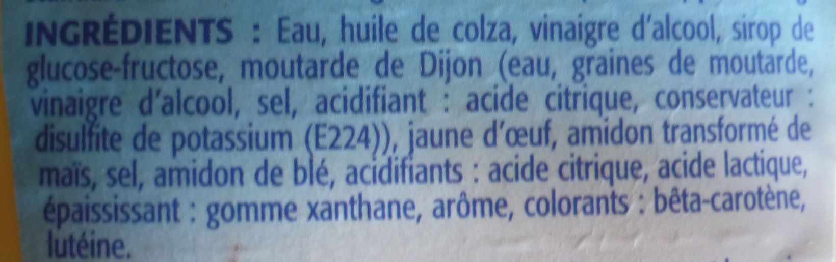 Mayonnaise légère - Ingredients - fr