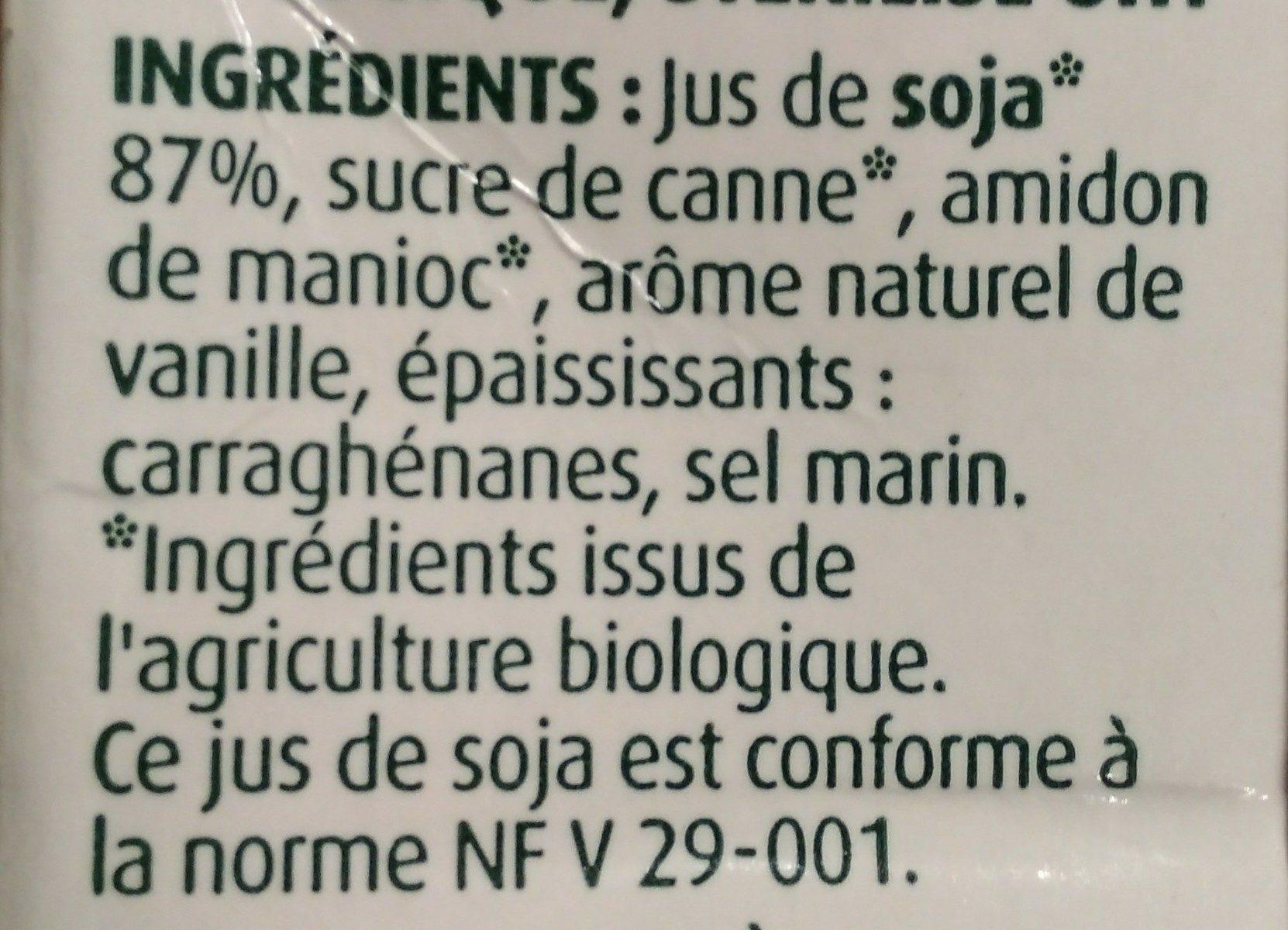 Dessert au Soja, Saveur Vanille - Ingrediënten - fr