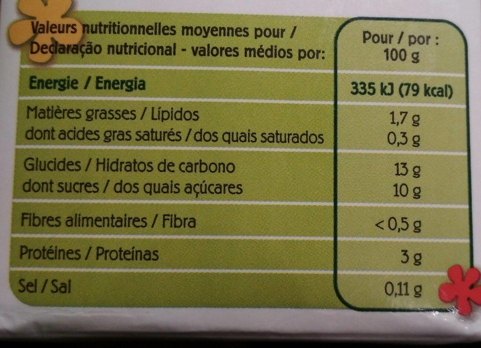 Dessert soja saveur vanille bio - Informations nutritionnelles - fr