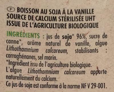 Boisson au Soja, Saveur Vanille - Ingrédients - fr