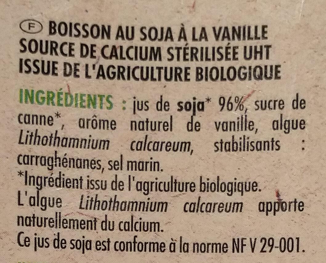 Boisson au Soja, Saveur Vanille - Ingredients - fr