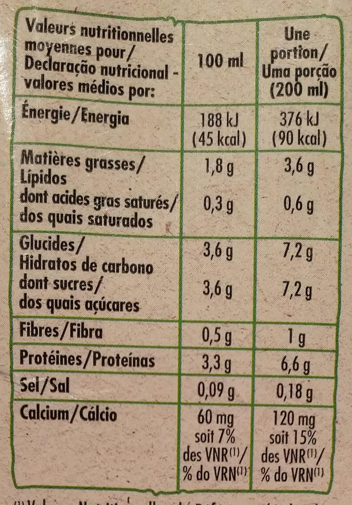 Boisson au Soja, Saveur Vanille - Informations nutritionnelles - fr