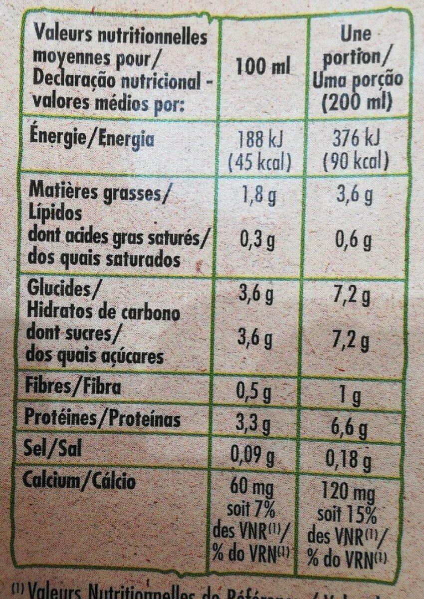 Boisson au soja à la vanille source de calcium bio - Informations nutritionnelles - fr