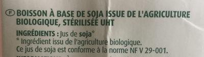 Boisson au Soja - nature - Ingrédients