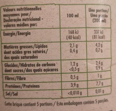Lait de Soja Nature - Informations nutritionnelles - fr