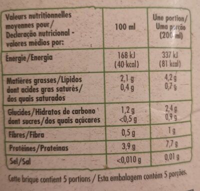 Boisson au soja nature BIO - Nutrition facts - fr