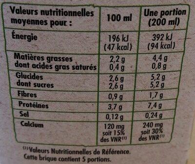 Boisson au soja nature BIO - Informations nutritionnelles - fr