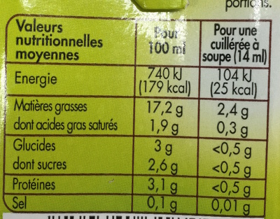 Soja cuisine - Informations nutritionnelles