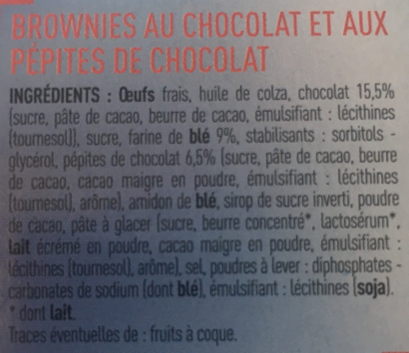 Mini brownies aux pépites de chocolat - Ingredients