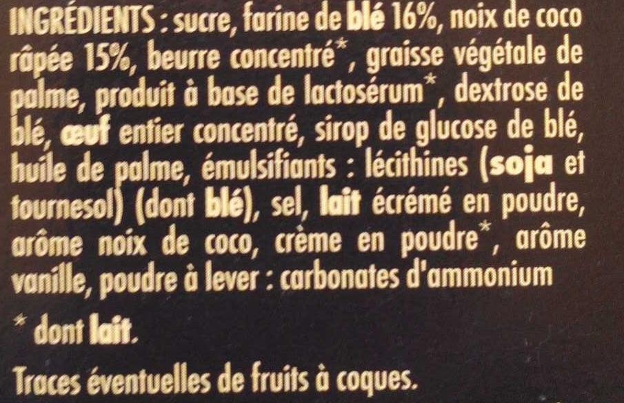 biscuits à la noix de coco - Ingredients