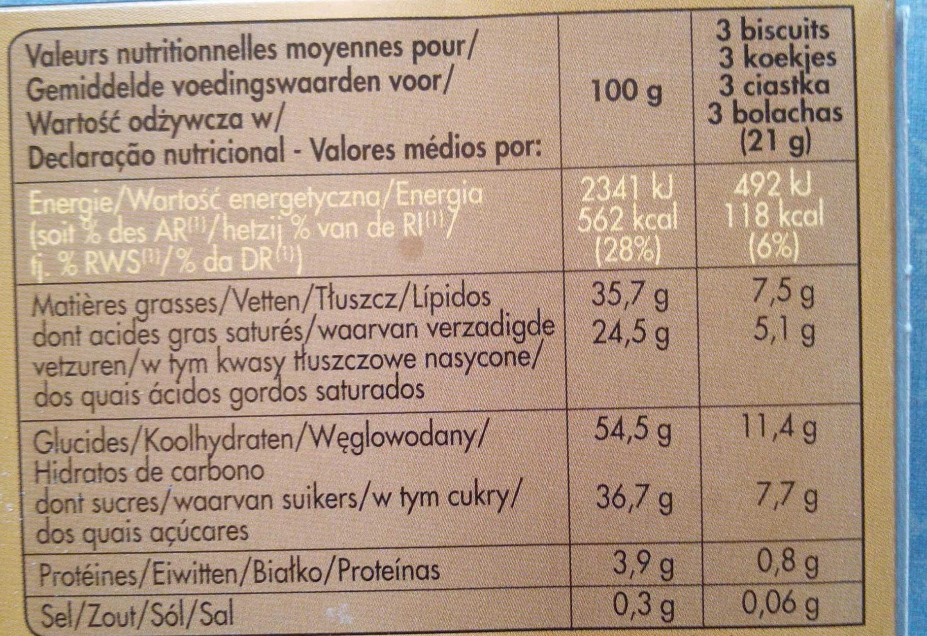 biscuits à la noix de coco - Nutrition facts