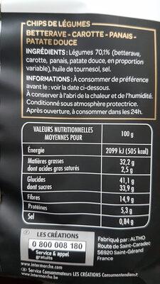 Chips de Légumes - Voedigswaarden