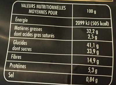 Les irrésistibles chips croustillantes de légumes - Informations nutritionnelles - fr