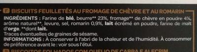 Torsades Feuilletées chèvre romarin 100 g - Ingredients