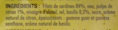 Filets de sardines sans huile au citron et au basilic - Ingrediënten