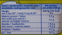 Filets de sardines sans huile au citron et au basilic - Nutrition facts - fr