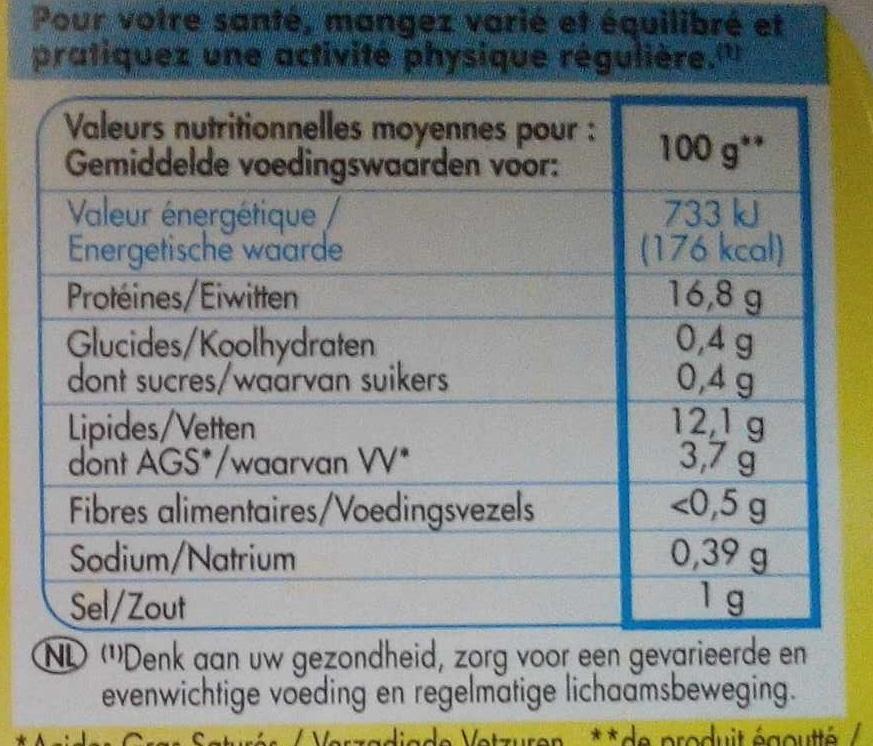 Filets de sardines sans huile au citron et au basilic - Voedigswaarden