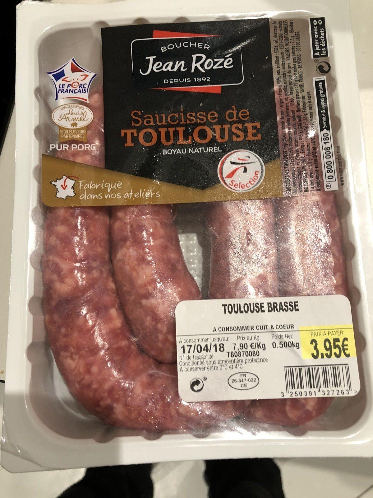 Jean Roze, Saucisse de toulouse brasse, la barquette de 500 gr - Produit