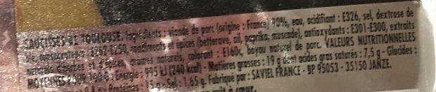 Jean Roze, Saucisse de toulouse brasse, la barquette de 500 gr - Ingrédients