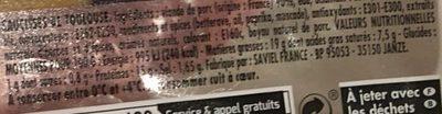 Jean Roze, Saucisse de toulouse brasse, la barquette de 500 gr - Informations nutritionnelles