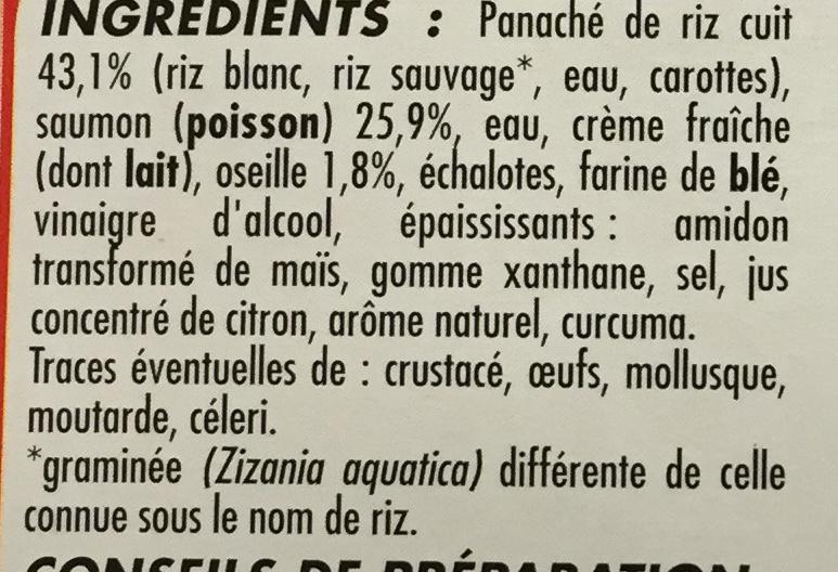 Pavé de Saumon Sauce Oseille et Riz - Ingrediënten - fr