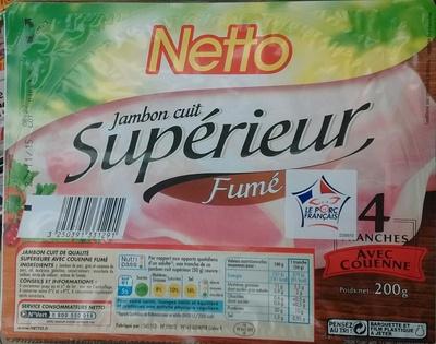 Jambon cuit Supérieur Fumé Avec Couenne - Produit