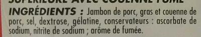 Jambon cuit Supérieur Fumé Avec Couenne - Ingrédients