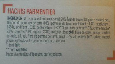 Hachis Carpentier - Ingrédients