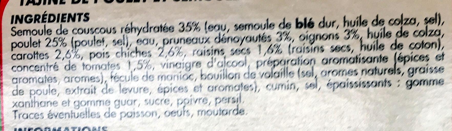 Tajine de Poulet & Semoule - Ingrédients - fr
