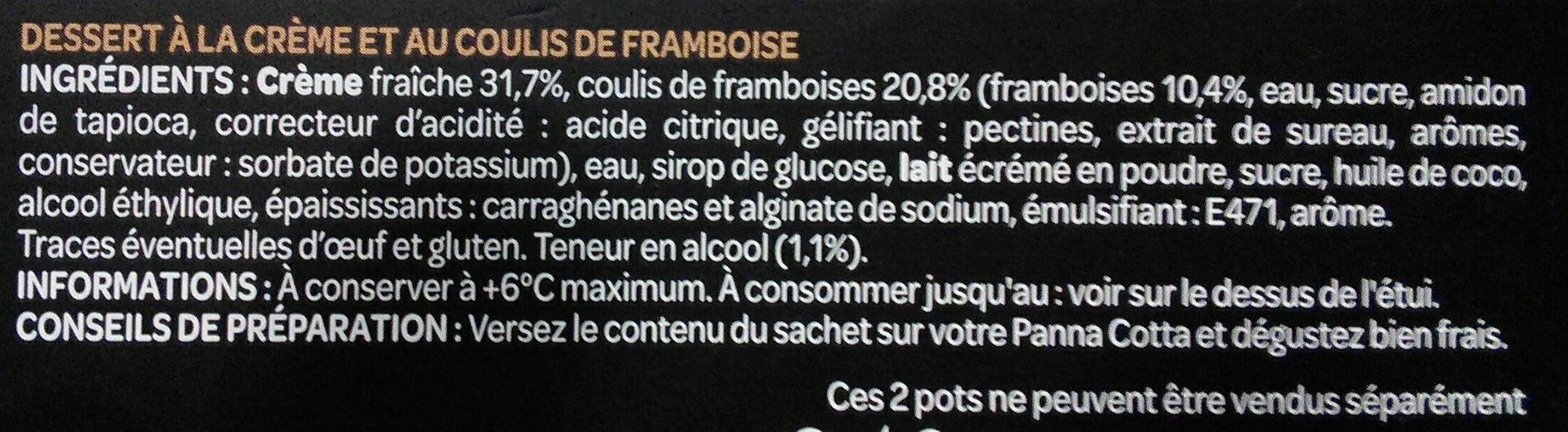 La Délicieuse Panna cotta Framboise et son divin coulis - Ingrédients - fr