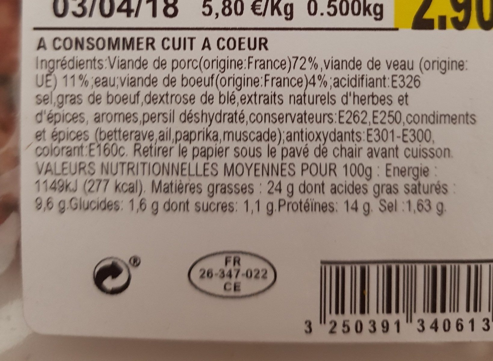 Farce à légumes - Ingredients