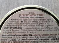 Netto Terrine Eau Vie Cidre - Ingrédients - fr
