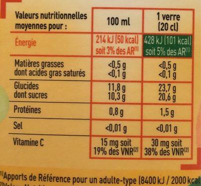 100% Pur Jus Douceur du matin avec pulpe naturellement riche en vitamine C - Nutrition facts