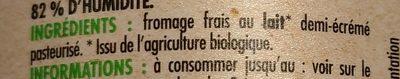 Fromage blanc 3,6% de Matière Grasse BIO Pâturages - Ingrédients - fr