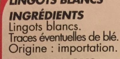 Lingots Blancs - Ingrediënten