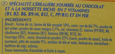 CRICA' CHOC Chocolat Noisette - Ingredients - fr