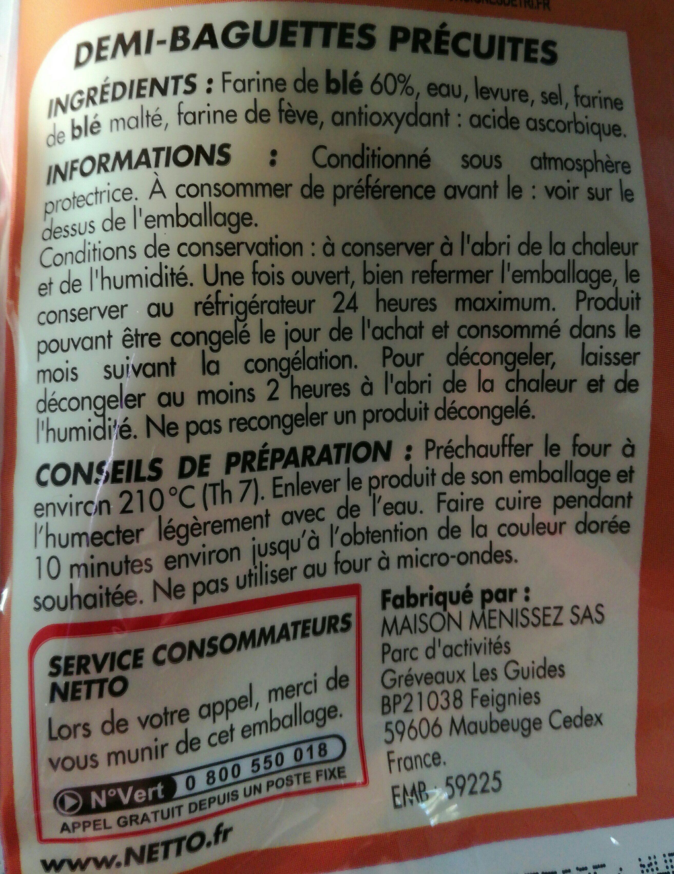 2 demi baguettes précuites - Ingrediënten - fr