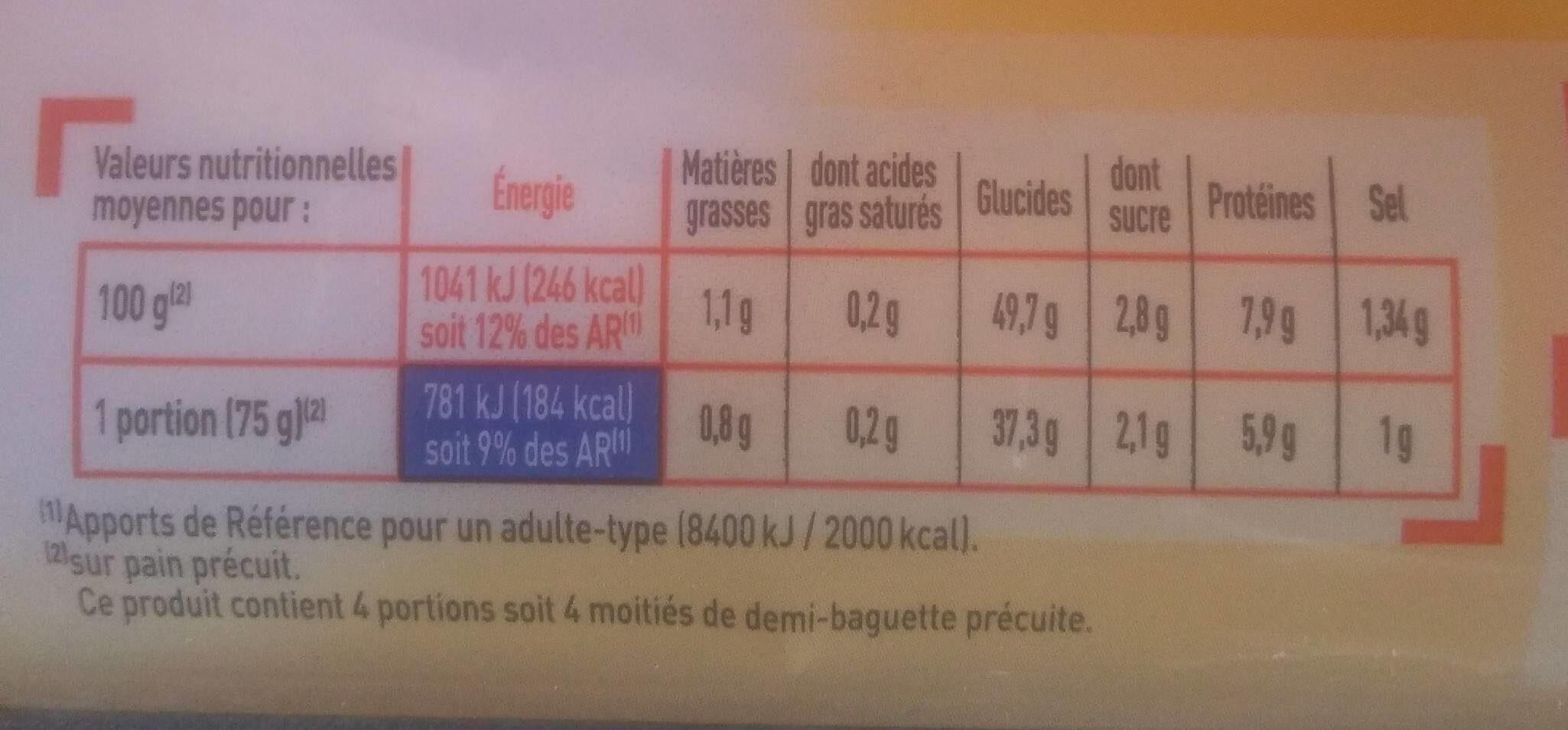 2 demi baguettes précuites - Voedingswaarden - fr