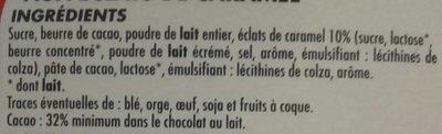 Chocolat Lait Dégustation Aux Éclats de Caramel - Ingredients