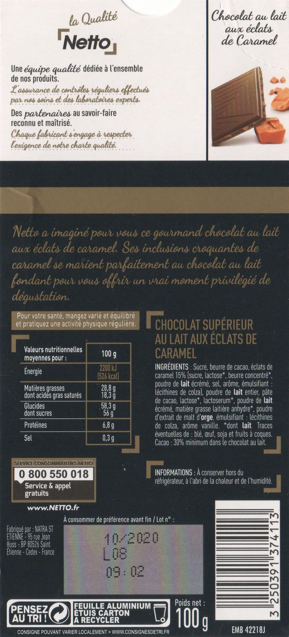 Chocolat Lait Dégustation Aux Éclats de Caramel - Ingredients - fr