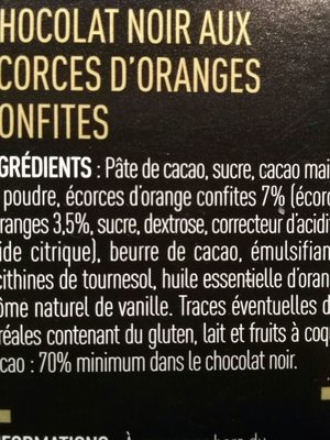 Le Captivant Chocolat noir écorces d'orange confites - Ingrediënten