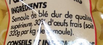 Coquillettes 7 oeufs frais au kilo - Ingrediënten