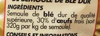 Nouilles bouclées 7 oeufs frais au kilo - Ingrediënten